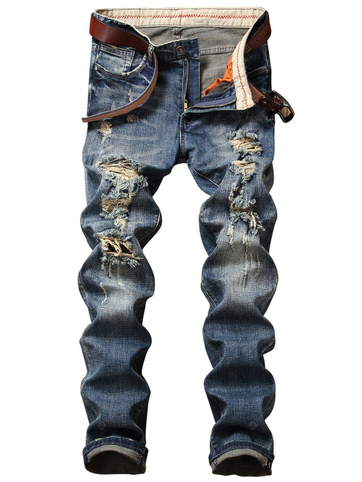 Straight Leg Distressed Zip Fly Jeans