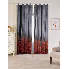 2 Panels Forest Maple Leaf Blackout Window Curtains