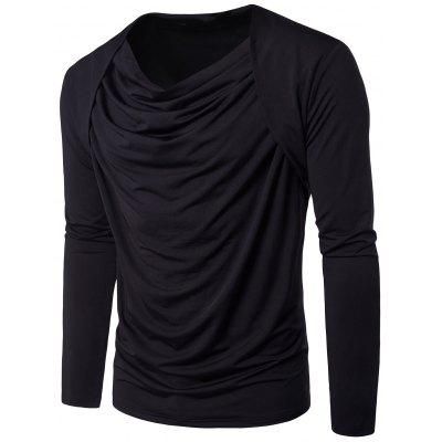 Cowl Neck manga comprida Hip Hop Pleated T-shirt
