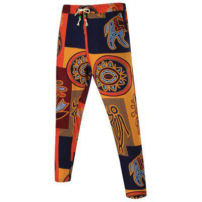 Buy COLORMIX Drawstring Waist Tribal Print Patchwork Pants for $20.64 in GearBest store