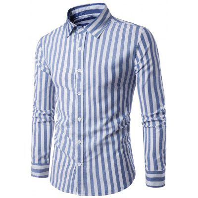 Turndown Collar Vintage Stripe Shirt
