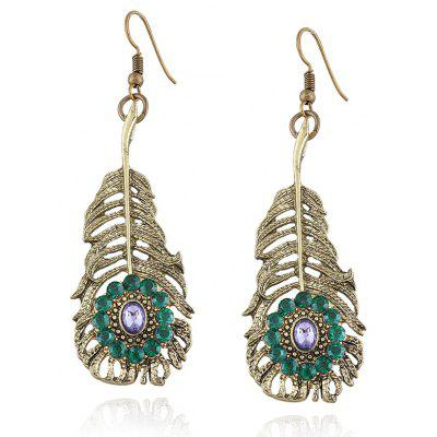 Fals Crystal Alloy Feather Hook Earrings