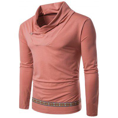 Cowl Neck Tribal Embroidered Long Sleeve T-shirt
