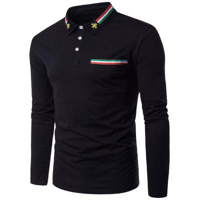 Stripe Braid Embellished Bee Embroidered Polo Collar T-shirt