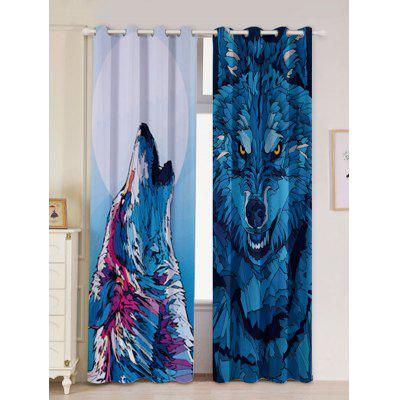 2 Panel Window Screen Wolf Animal Blackout Curtain