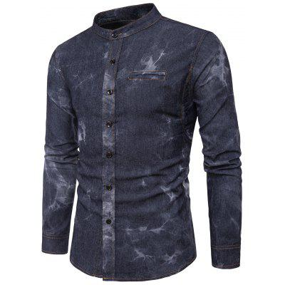 Buy BLACK L Turndown Collar Tie Dye Edging Denim Shirt for $22.12 in GearBest store