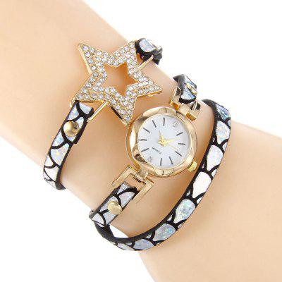Rhinestone Star Charm Bracelet Watch