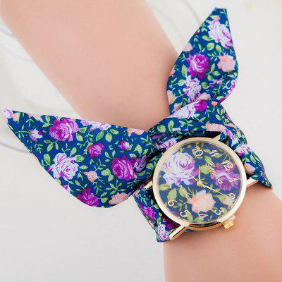 Floral Cloth Strap Number Quartz Watch
