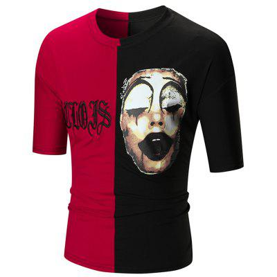 Clown Print Embroidery Color Block Tee