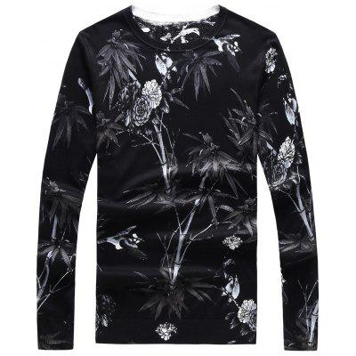 Crew Neck 3D Flower Print Long Sleeve Sweater