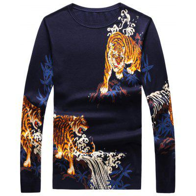 Crew Neck 3D Tigers Print Long Sleeve Sweater