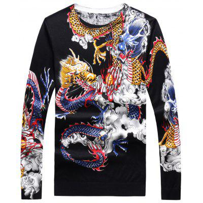 Crew Neck 3D Dragons Print Sweater