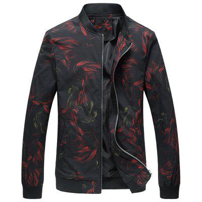 Buy BLACK L Cock Print Stand Collar Jacket for $37.00 in GearBest store