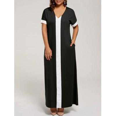Buy BLACK 4XL Contrast Plus Size Maxi Evening Dress with Pockets for $22.54 in GearBest store