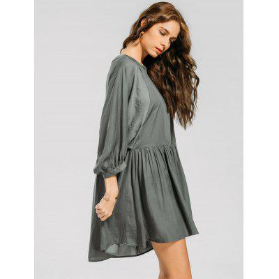 Ruffled Seam Lantern Sleeve Mini DressWomens Dresses<br>Ruffled Seam Lantern Sleeve Mini Dress<br><br>Dresses Length: Mini<br>Embellishment: Ruffles<br>Material: Cotton, Polyester<br>Neckline: Round Collar<br>Occasion: Causal, Going Out<br>Package Contents: 1 x Dress<br>Pattern Type: Solid<br>Season: Summer, Spring, Fall<br>Silhouette: Straight<br>Sleeve Length: 3/4 Length Sleeves<br>Style: Casual<br>Weight: 0.2700kg<br>With Belt: No
