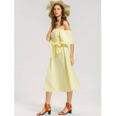 Off Shoulder Belted Casual DressWomens Dresses<br>Off Shoulder Belted Casual Dress<br><br>Dresses Length: Mid-Calf<br>Embellishment: Bowknot<br>Material: Cotton, Polyester<br>Neckline: Off The Shoulder<br>Occasion: Causal, Day, Going Out<br>Package Contents: 1 x Dress  1 x Belt<br>Pattern Type: Solid<br>Season: Summer<br>Silhouette: A-Line<br>Sleeve Length: Short Sleeves<br>Style: Casual<br>Weight: 0.3850kg<br>With Belt: Yes