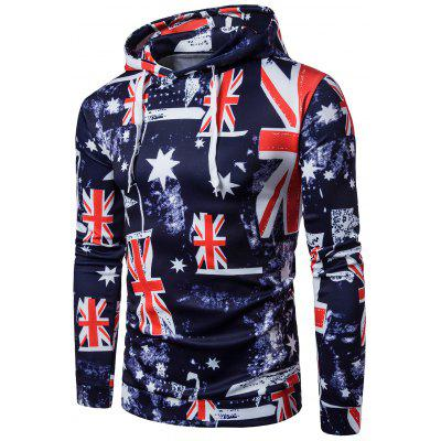 Hooded 3D Star and Union Flag Print Patriotic Hoodie