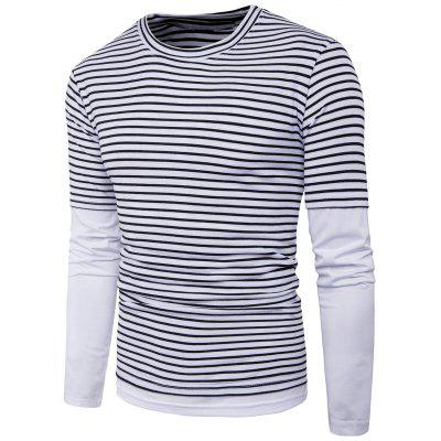 Crew Neck Faux Twinset Stripe Panel T-shirt