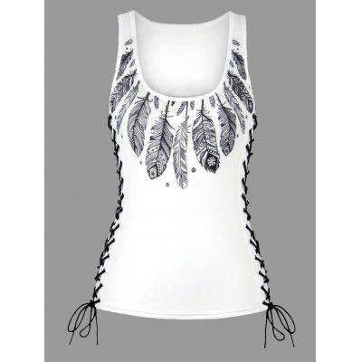 Feather Print Lace Up U Neck Tank TopTank Tops<br>Feather Print Lace Up U Neck Tank Top<br><br>Embellishment: Criss-Cross<br>Material: Polyester, Spandex<br>Package Contents: 1 x Tank Top<br>Pattern Type: Feather<br>Shirt Length: Regular<br>Style: Fashion<br>Weight: 0.2200kg
