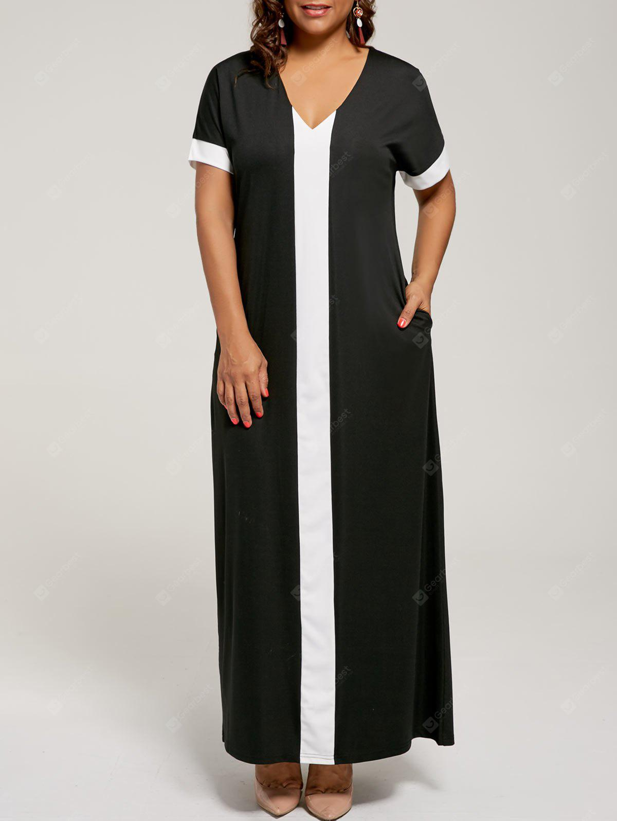 BLACK 4XL Contrast Plus Size Maxi Evening Dress with Pockets