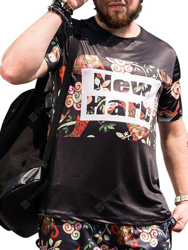 Floral and Letters Printed Short Sleeves Plus Size Tee