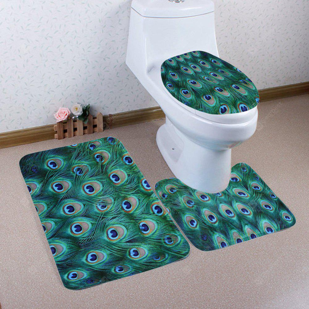 MALACHITE GREEN 3 Pieces Peacock Feather Bathroom Mat Set