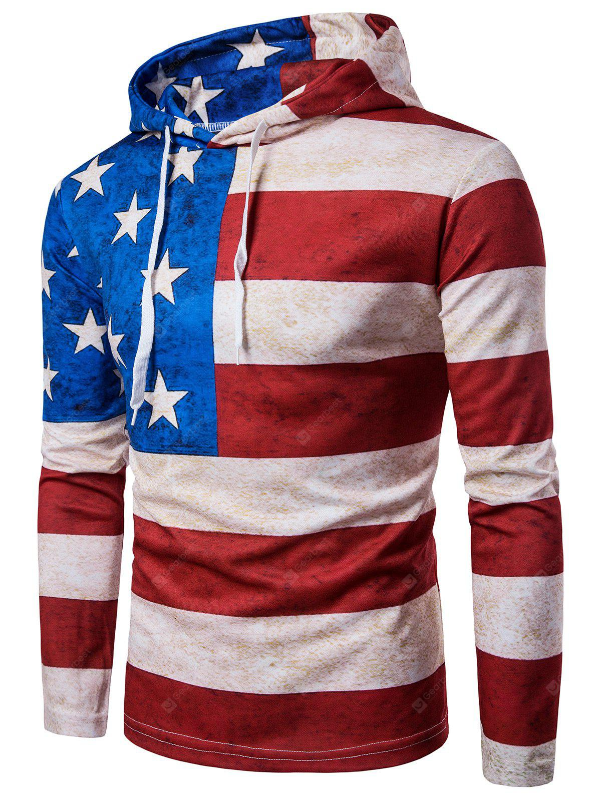 Hooded Distressed American Flag Print Hoodie