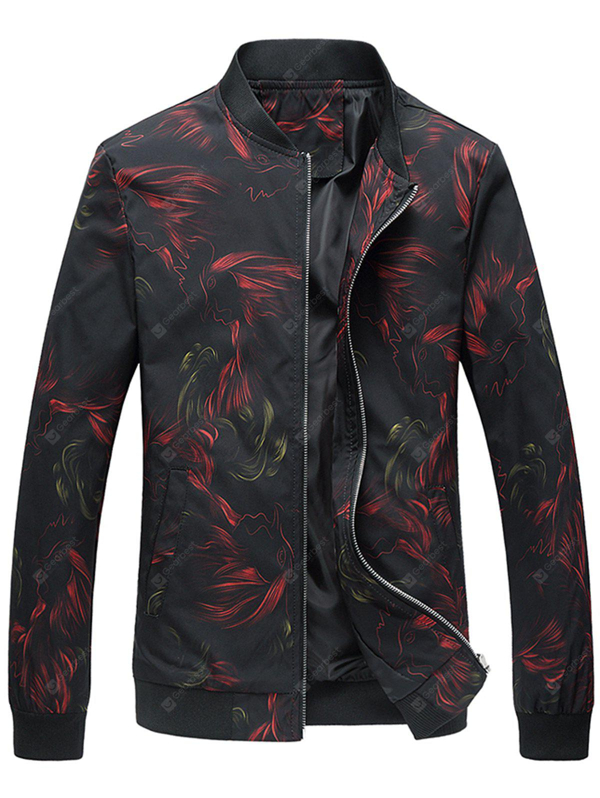 Cock Print Stand Collar Jacket