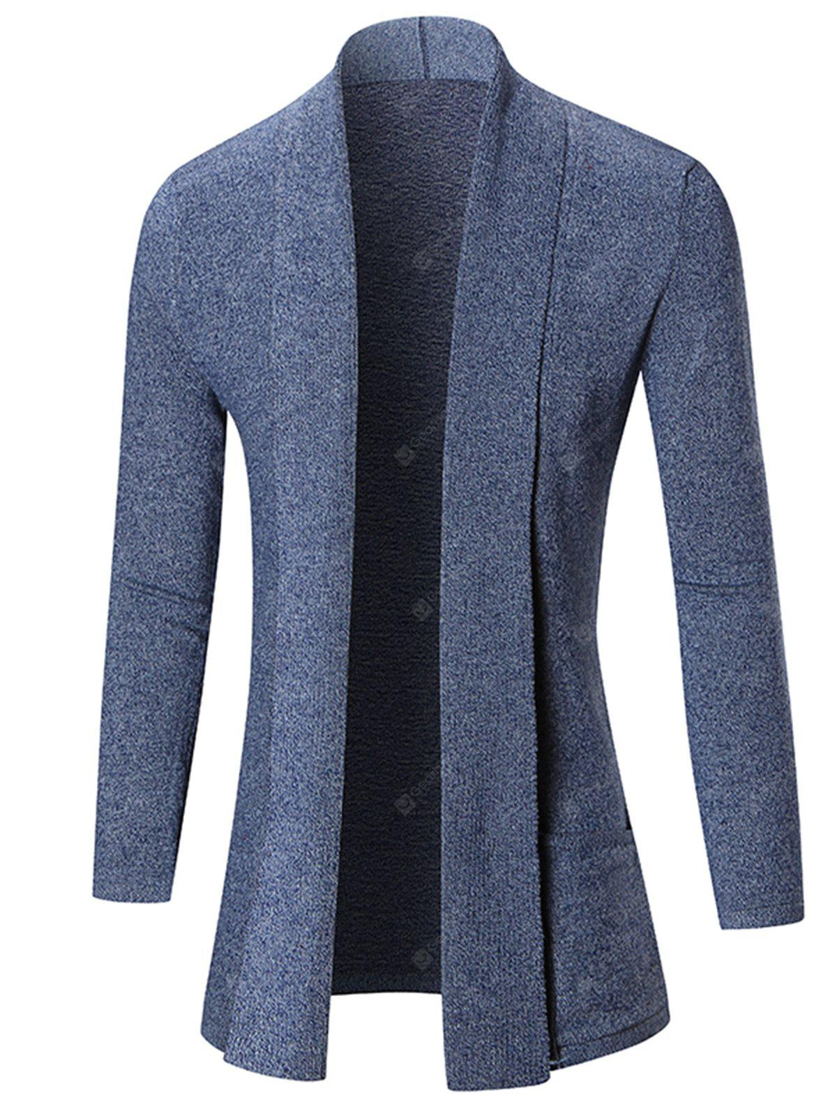 Shawl Collar Open Front Heathered Cardigan