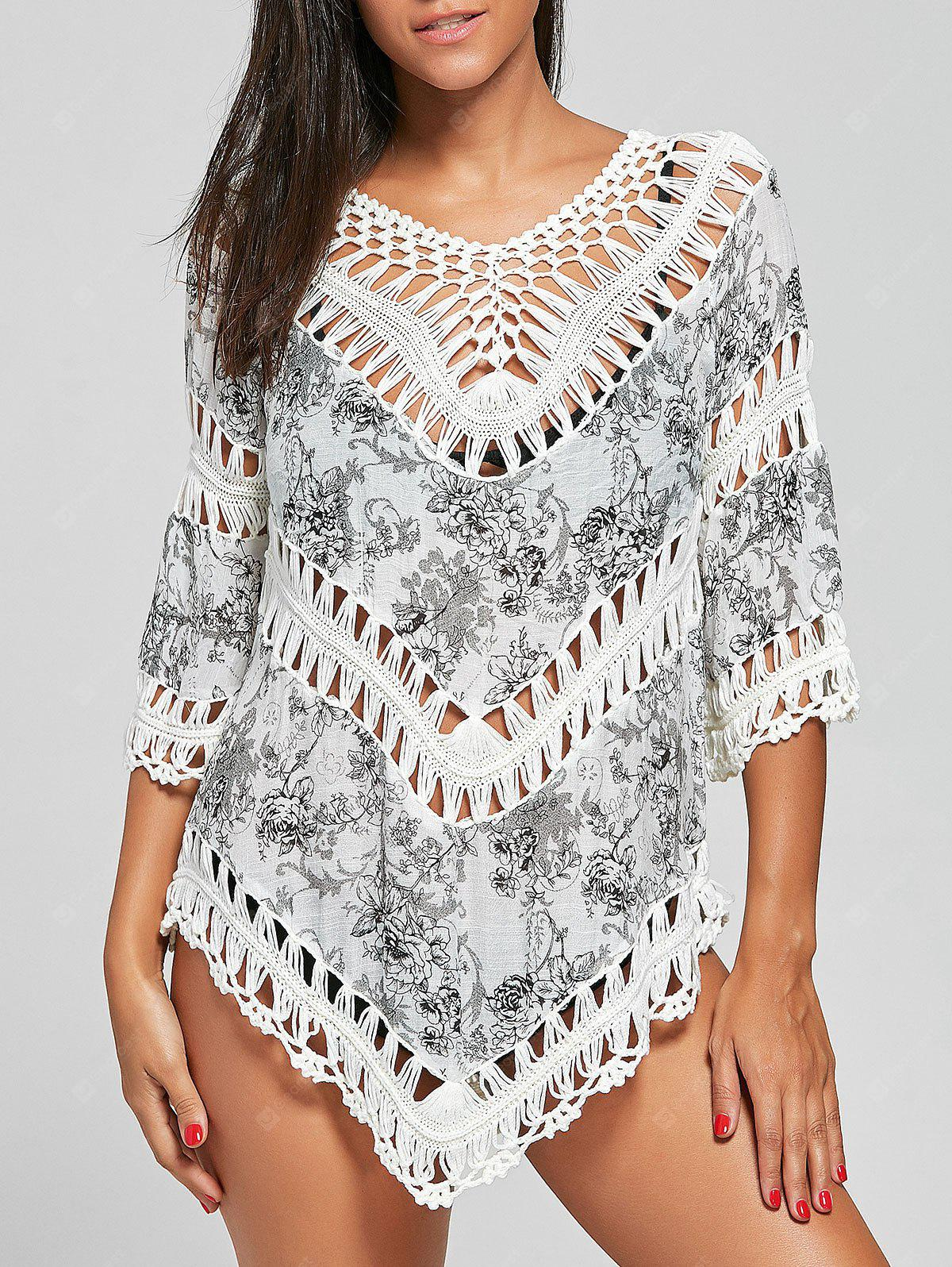 Crochet Insert Floral Tunic Cover-Up