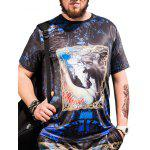 Horse Printed Short Sleeves Plus Size T-shirt - BLACK