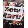 Floral and Letters Printed Short Sleeves Plus Size Tee - BLACK