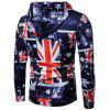 Hooded 3D Star and Union Flag Print Patriotic Hoodie - COLORMIX