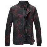 Cock Print Stand Collar Jacket - BLACK
