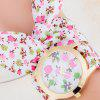 Floral Cloth Strap Number Quartz Watch - PINK