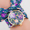 Floral Cloth Strap Number Quartz Watch - BLUE