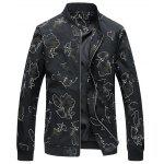 Stand Collar Camo Print Jacket - BLACK