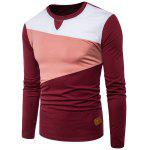 Crew Neck PU Leather Applique Panel Design T-shirt - WINE RED
