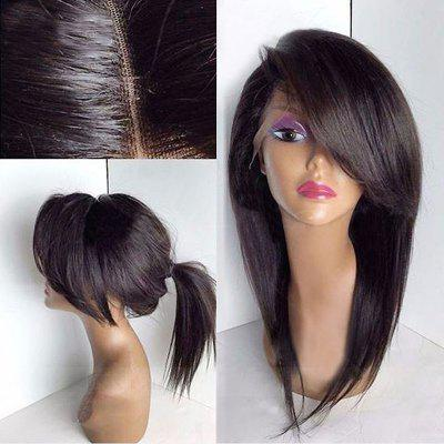 Deep Side Bang Long Straight Lace Front peruca sintética