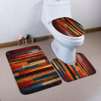 Buy COLORMIX Colorful Woodgrain Coral Fleece 3Pcs Bath Mats Set for $17.85 in GearBest store