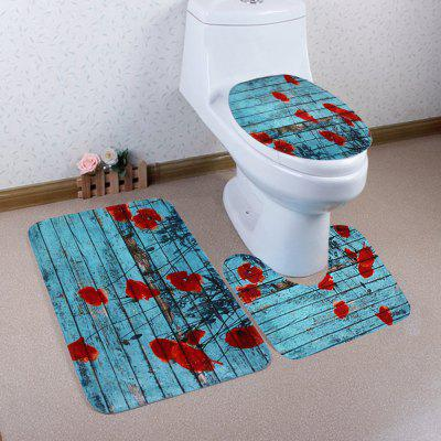 Woodgrain 3Pcs Soft Toilet Cover and Floor Mat Set