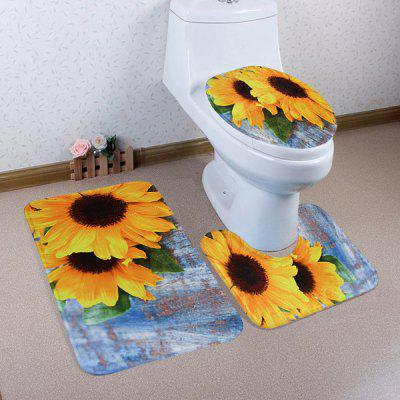 3Pcs Soft Coral Fleece Sunflower Bath Mats Set