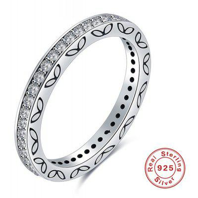 Buy SILVER 8 Rhinestone Engraved Leaf Sterling Silver Ring for $11.40 in GearBest store