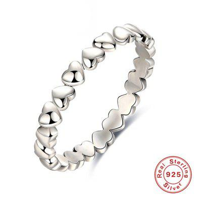 Buy SILVER 7 Heart Sterling Silver Circle Finger Ring for $8.78 in GearBest store