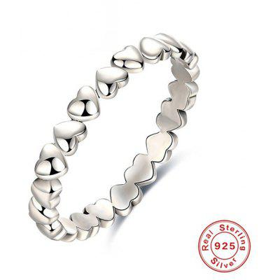 Buy SILVER 8 Heart Sterling Silver Circle Finger Ring for $8.78 in GearBest store
