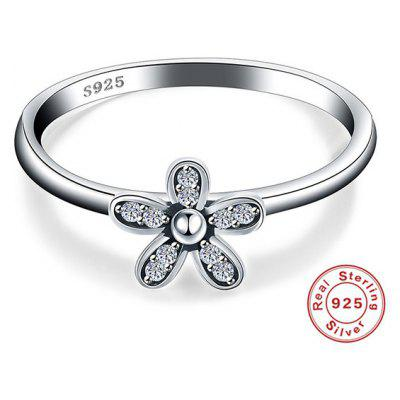 Buy SILVER 6 Rhinestone Flower Sterling Silver Finger Ring for $8.45 in GearBest store