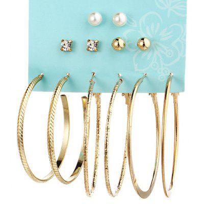 Buy GOLDEN Rhinestone Faux Pearl Circle Earring Set for $3.15 in GearBest store