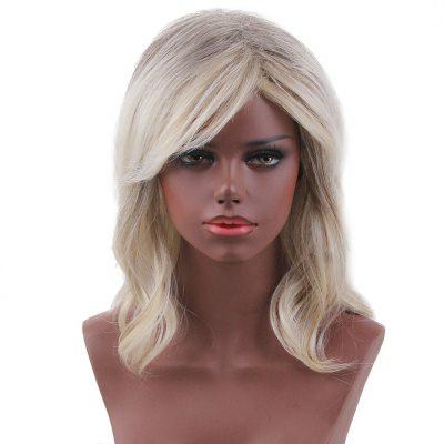 Short Side Bang Colormix Slightly Curly Human Hair Wig