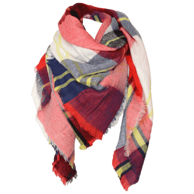 Square Plaid Wool Blend Warm Scarf