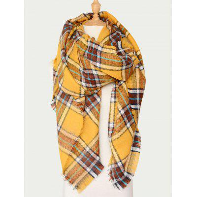 Plaid Wool Blend Warm Scarf